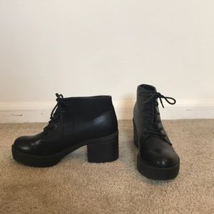 Lace-up Heeled Leather Booties by Wanted